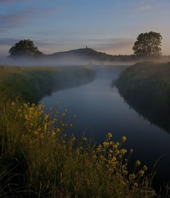 Glastonbury Tor from the Somerset Levels, England