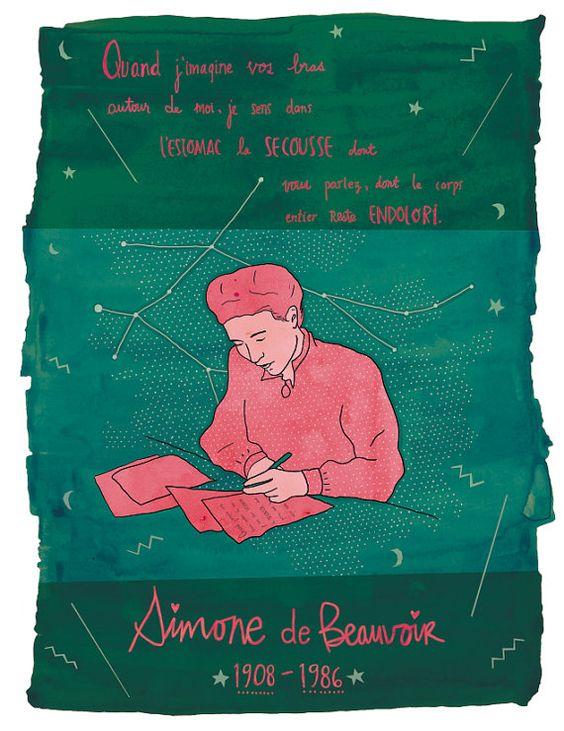ILLUSTRATION Simone de Beauvoir print/affiche par Annickg sur Etsy