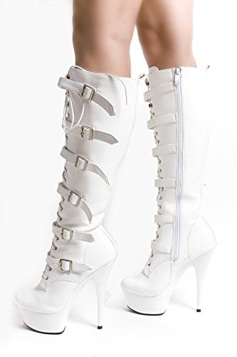 RUBY-FASHION Sexy Plateau High Heels Lack Stiefel Weiß Kniehohe GoGo Boots Lackstiefel / Weiss / EU 37-43 - http://on-line-kaufen.de/ruby-fashion/ruby-fashion-sexy-plateau-high-heels-lack-stiefel