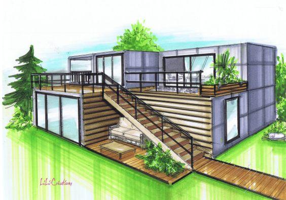 Cette maison est constitu e de 5 containers de 20 pieds et de deux containers de 40 pieds cette - Maison container ...