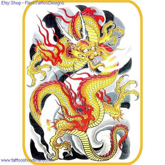 Dragon Tattoo Flash Design 2 For You On Etsy. Top Quality