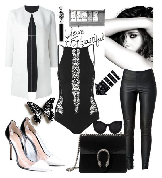 """""""Untitled #312"""" by mgadom ❤ liked on Polyvore featuring BLANCHA, Chanel, Boohoo, LIST, I.D. SARRIERI, VILA, Gianvito Rossi, Gucci and Lime Crime"""