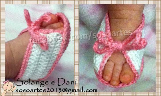Peep Toe em crochê para bebês