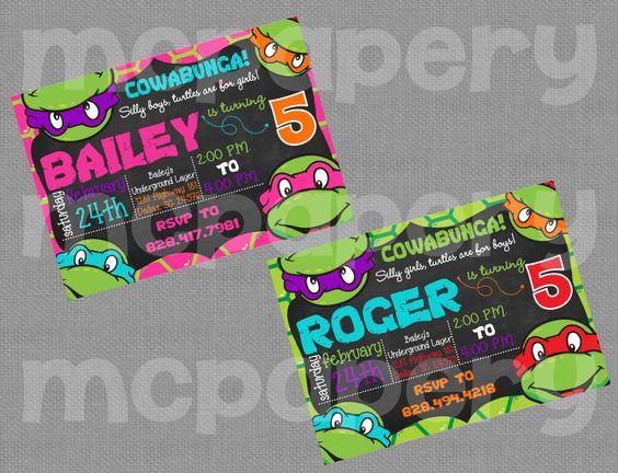 "Ninja Turtles Printable 5"" x 7"" Birthday Invitation - YOU PRINT by MCPapery on Etsy"