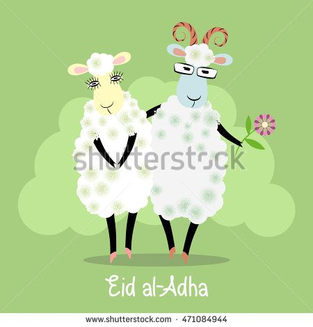 Eid al-Adha greeting card with cartoon family sheep. Arabic lettering. English…