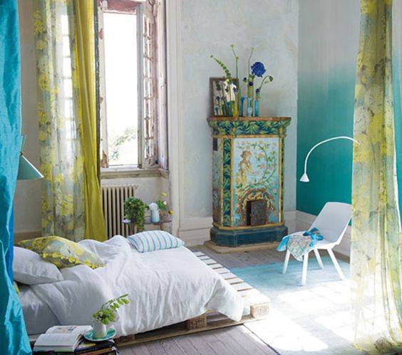 Designers Guild Australia | Home~I love the colors in this room and the heater or fireplace in the corner is gorgeous.