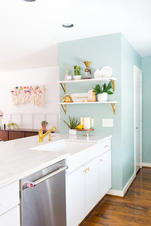 Mint Green Kitchen Ideas That Are Oh So Fresh Hunker Accent Wall In Kitchen Kitchen Decor Themes Kitchen Diy Makeover