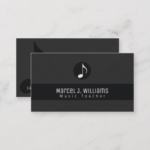 Musician Black Business Card With Music Note Zazzle Com Black Business Card Music Business Cards Musician Business Card