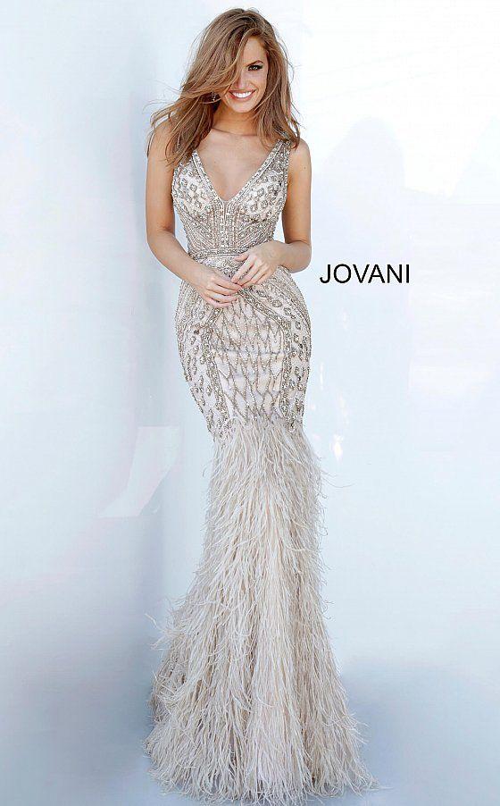 02798 Feather Bottom Embellished Evening Dress In 2020 Sparkly Prom Dresses Jovani Wedding Dresses Unusual Dresses