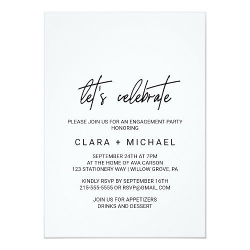 Whimsical Calligraphy Let S Celebrate Invitation Zazzle Com Happy Birthday Cards Printable Elegant Engagement Party Bachelorette Party Invitations