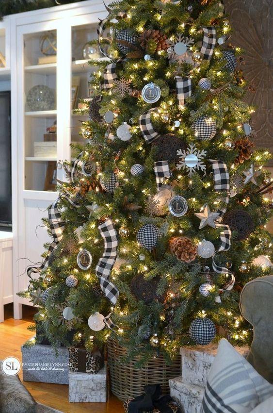 Black and White Plaid Buffalo Check Christmas Tree | 2015 Michaels Dream Tree Challenge - bystephanielynn