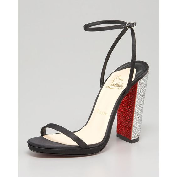 Christian Louboutin Au Palace Crystal-Heel Satin Sandal.  I love the simplicity of the straps with the crystal heel.