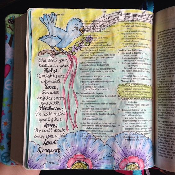 Zephaniah 3:17. Illustrated faith. Illustrated journaling.