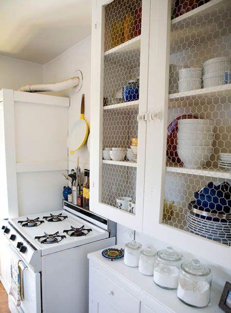 40 Diy Farmhouse Style Chicken Wire Basket Shelf Ideas Chicken Wire Cabinets Diy Cabinet Doors Vintage Kitchen Cabinets