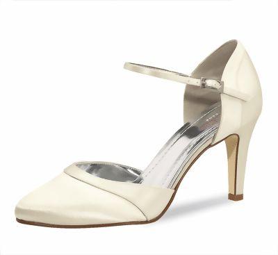 112 Extra gefütterter Rainbow Schuh mit Absatz 7,5cm, Satin Farbe: ivory creme, sehr bequem