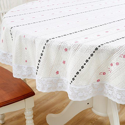 Diliba Round Vinyl Plastic Oilcloth Tablecloth Lace Wipeable Oil