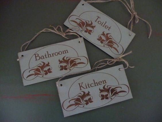 Home Sign Set of 3 Wooden Sign Kitchen Sign Bathroom by Crafu