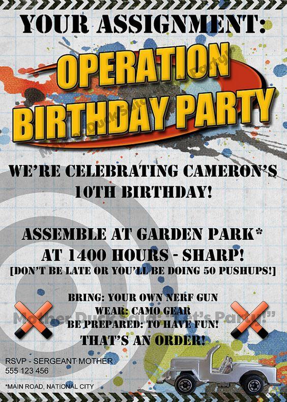 Nerf gun inspired party invitations Birthday Party Ideas Boys