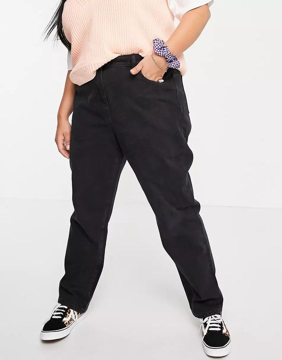 COLLUSION Plus x006 mom jean in washed black ASOS
