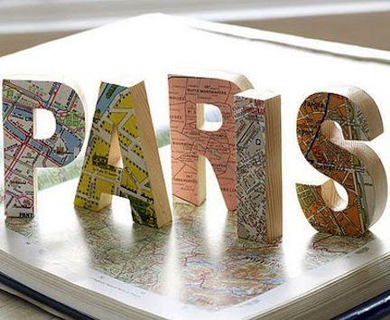 #Letters covered in #maps  Cute web site: Map Craft, Favorite Place, Paris Map, Map Idea, Diy Craft, Diy Project, Paris Letter