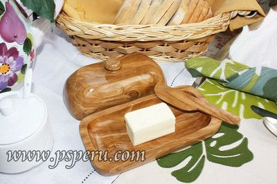 Wooden Butter Dish Carved From Olive Wood With Knife AND LID Unique ON Market | eBay