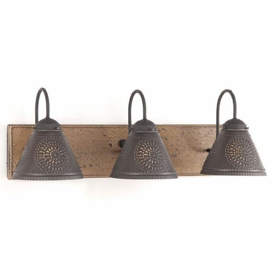 Vanity light wood metal with 3 punched tin lamp shades for Rustic wooden light fixtures