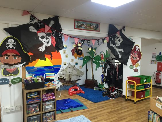 Pirates central area - role play, prompt cards, key vocabulary, topic books, art work