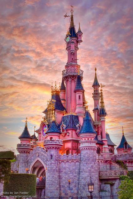 Disneyland Paris Halloween 2010 - Le Château de la Belle au Bois Dormant as the sun sets