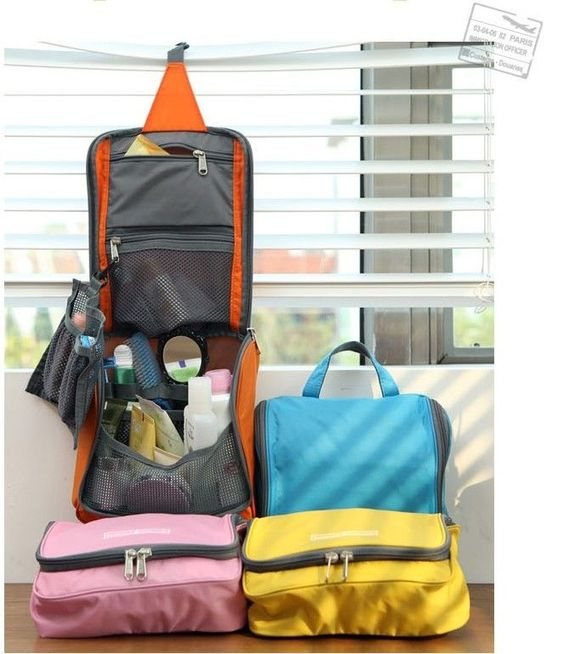 Stylish Colorful Hanging Cosmetic Bag Toiletry Jewelry Organizer Travel & Check