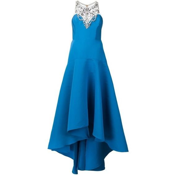 Marchesa Notte embellished neck gown ($1,090) ❤ liked on Polyvore featuring dresses, gowns, blue, embellished dress, blue print dress, embelished dress, pattern dress and notte by marchesa