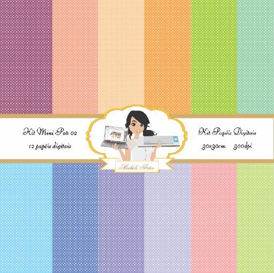 kit papéis digitais mini poá 02 - Michele Artes