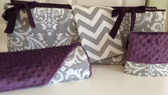 A personal favorite from my Etsy shop https://www.etsy.com/listing/252370561/purple-gray-baby-bedding-crib-set-girl