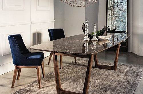 Architecture Dining Table With Emperador Marble Top And Walnut Base Tables In Marble Dining Ta Dining Table Marble Marble Top Dining Table Modern Dining Table