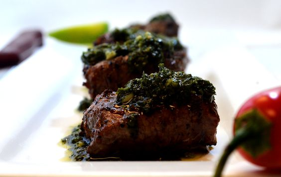 Beef tips - Authentic Argentinian chimichurri and perfectly cooked beef.