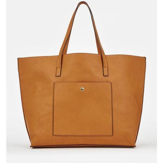 Justfab Totes Louie ($40) ❤ liked on Polyvore featuring bags, handbags, tote bags, brown, brown handbags, justfab purses, pocket purse, brown tote and tote hand bags