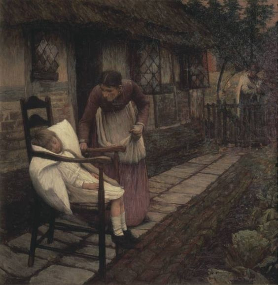1896La Thangue was well-known for his realist rustic scenes. Here, uncharacteristically, he introduces a symbolic dimension to his work. A mother discovers that her young daughter has died, presumably after an illness. At the same moment, a man arrives at the gate carrying a scythe, the traditional symbol of death, the 'grim reaper'.This rather melodramatic treatment can be compared with the more grimly realistic picture of child death Hushed, by Frank Holl, also shown in this room.