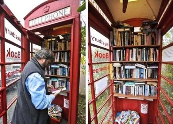 Recycled phone booth library in Westbury-sub-Mendip, England