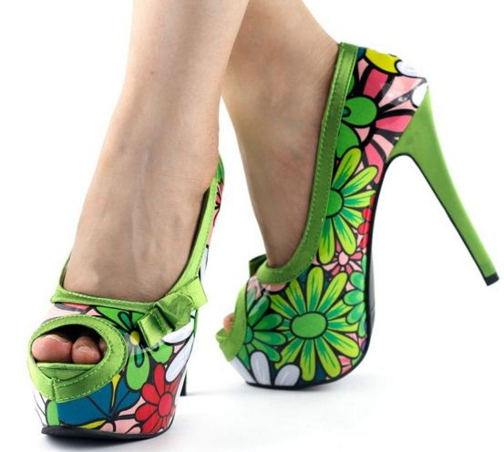 Show Story Floral Print Bow Peep Toe Platform High Heels Stiletto Pumps