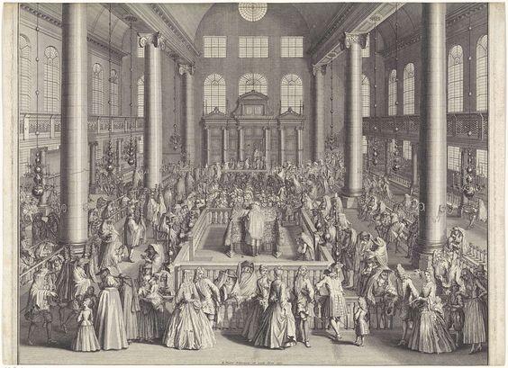 Bernard Picart | Inwijding van de Portugese Synagoge te Amsterdam, 1675, Bernard Picart, 1721 | De feestelijke inwijding van de Portugese Synagoge te Amsterdam op 2 augustus 1675. Op het podium in het midden staat de chazan, de voorzanger, om voor te lezen uit de Thora. Op de achtergrond de hechal, de kast, waarin de Thorarollen worden bewaard. Op de achterzijde de afgeknipte en opgeplakte legenda en toelichting in het Frans.