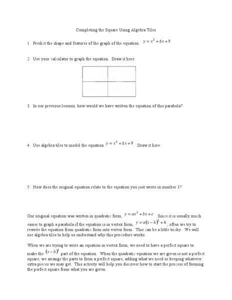completing the square using algebra tiles worksheet lesson planet algebra pinterest. Black Bedroom Furniture Sets. Home Design Ideas