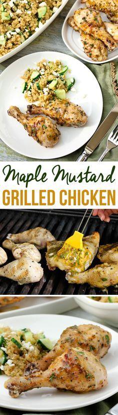 Grilled Maple Mustard Chicken Recipe | ASpicyPerspective.com
