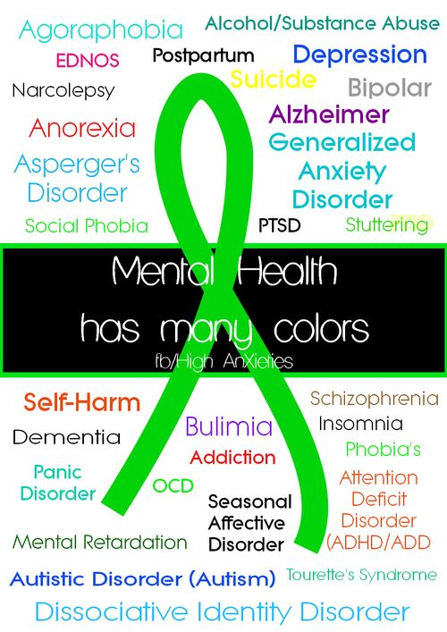 There is more to mental health then just depression and bipolar. Mental Health has many different colors. Spread the awareness! Thank you.