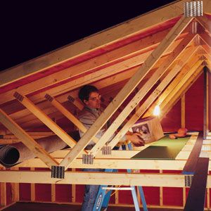 Garage storage how much weight can trusses take the for Garage attic storage