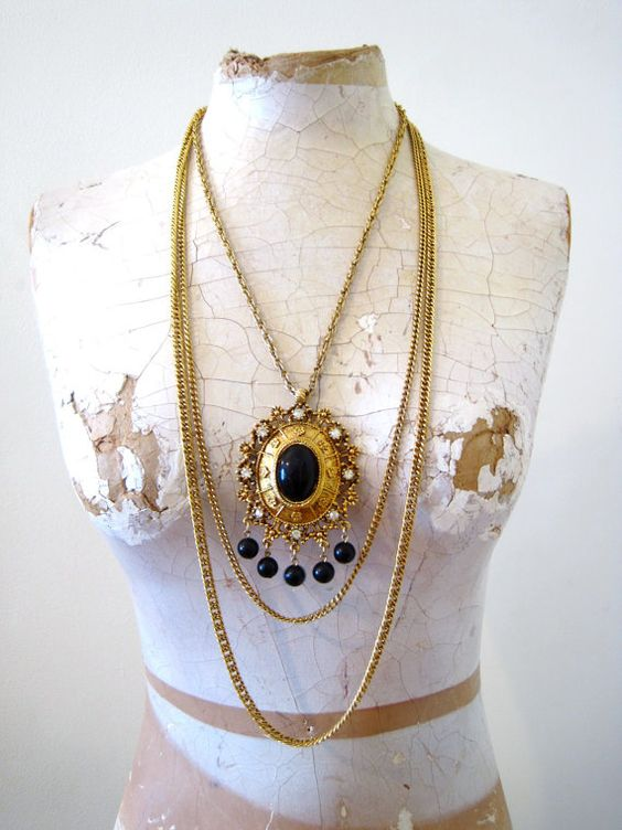 vintage 70s Celebrity gold multi chain statement by detroitdolly, $35.00