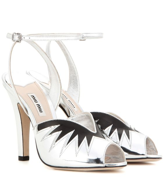 MIU MIU Metallic leather sandals:
