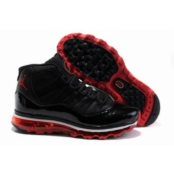 Wonderful Air Jordan 11 XI x Air Max Fusion Men Black / Varsity Red Shoes 1002