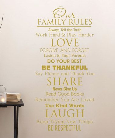 Gold Classic 'Family Rules' Decal by Wallquotes.com by Belvedere Designs #zulily #zulilyfinds