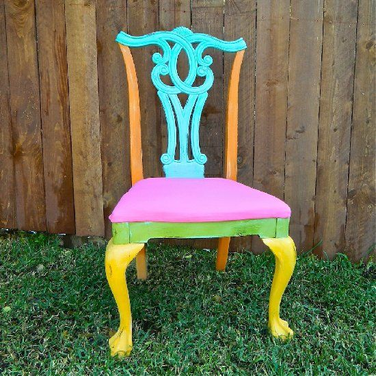 Give a $5 thrift store chair a boho feel with chalky finish paint and 1 yard of fabric.
