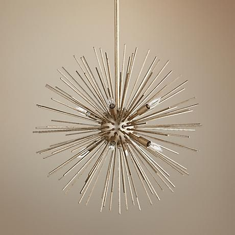With a starburst design derived from space-age Sputnik fixtures, this  silver leaf finish pendant light has a Mid Century