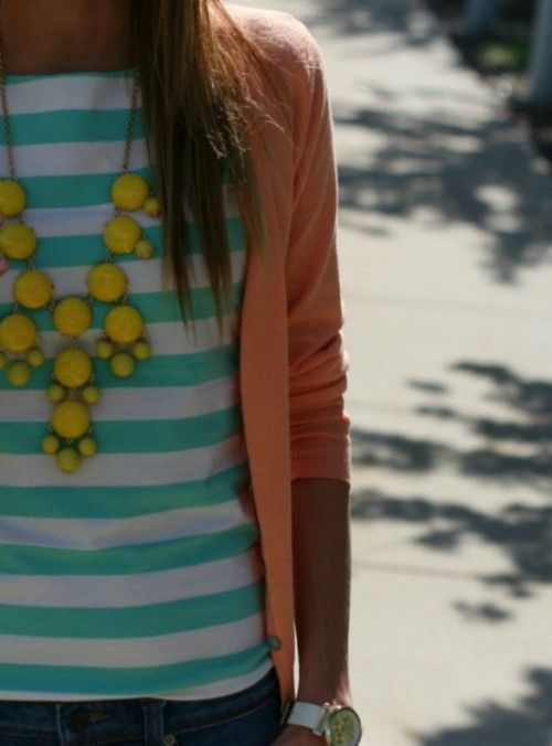 Stripes + statement necklace.